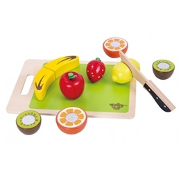 Tooky Toy - Delbara Frukter Med Skärbräda - Leksaksmat