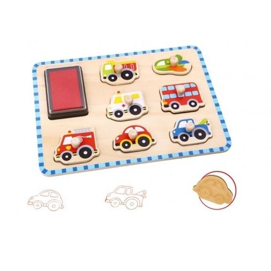 Tooky Toy - Pussel Med Fordon Och Stämpel
