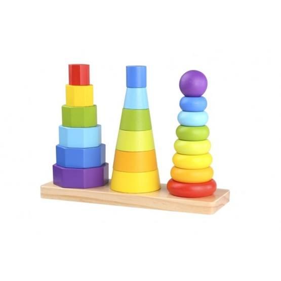 Tooky Toy - Stapelleksak I Trä Geometriska Former För Barn Tooky Toy
