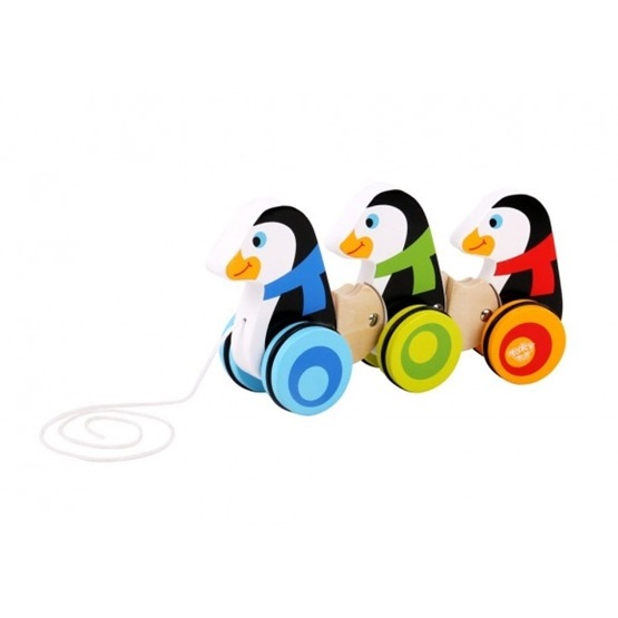 Tooky Toy - Dragleksak Pingviner I Trä