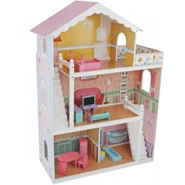 Woodi World Toy - Dockskåp Deluxe Tre Våningar Med Möbler