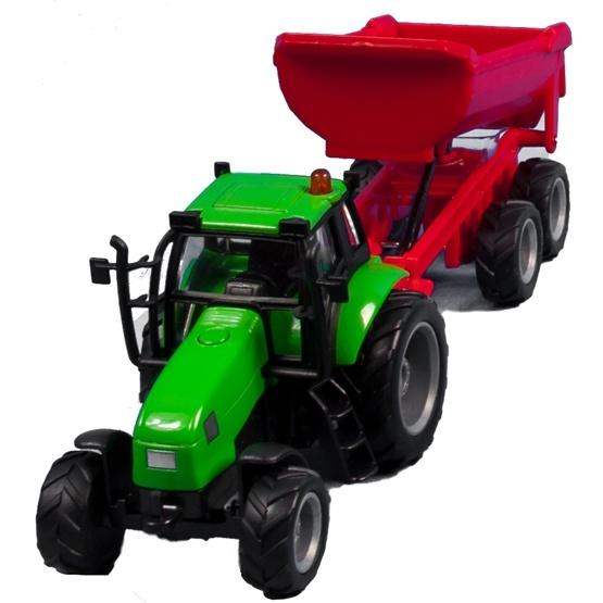Kids Globe - Traktor Med Rött Släp. Kids Globe