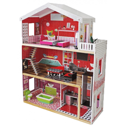 Woodi World Toy - Dockhus Fine Tre Våningar Med Möbler