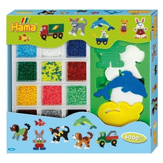 Hama, Midi Pärlor - Giant open gift box 6000 st blå