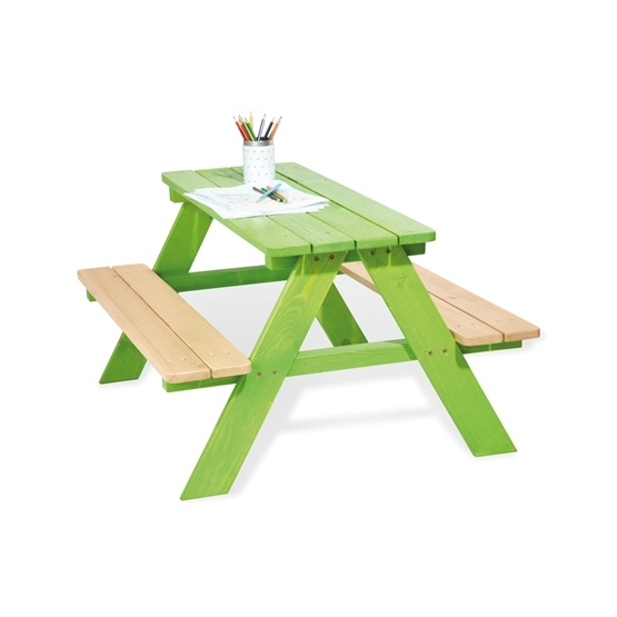 Pinolino - Barnträdgårdsmöbler Set (4 pers) - Nicki/Grön/Obehandlad furu