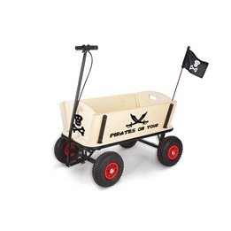 Pinolino - Dragvagn med Broms - Pirat Jack/Obehandlat trä