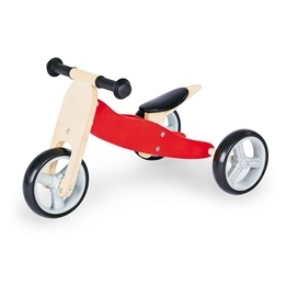 Pinolino - Kombi Trehjuling och Springcykel - Charlie/Natur-Röd