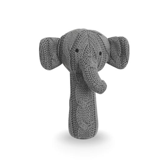 Jollein, Skallra Kabelstickad - Elefant Grå