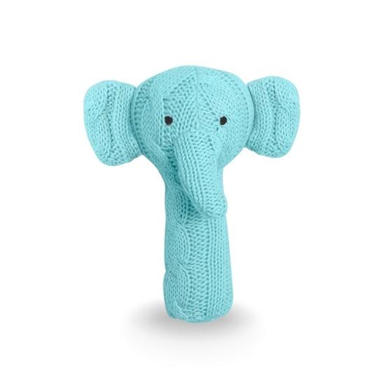 Jollein, Skallra Kabelstickad - Elefant Turkos