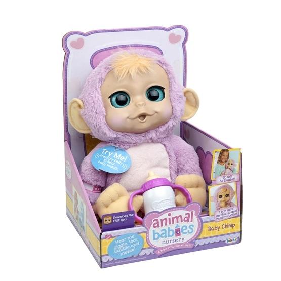 Animal Babies, Mjukdjur med napp & ljud - Baby Apa rosa
