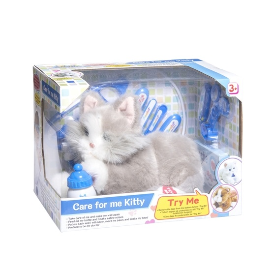 Katt hos veterinär med tillbehör - Grå Katt