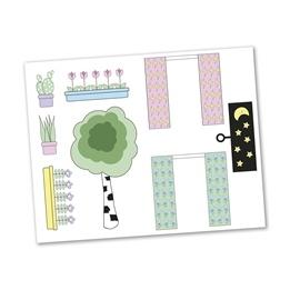 Lundby, Creative klistermärken, gardiner och blommor