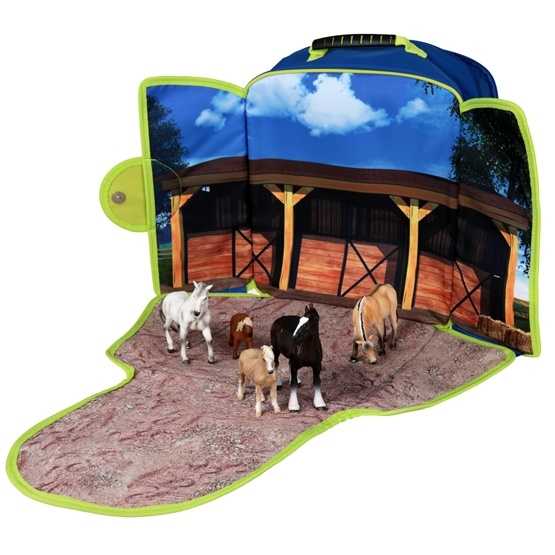 Övrigt lek Mojo, Ryggsäck med lekplatta - Häststall med 5 st hästar