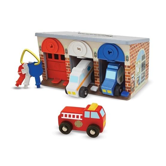 Melissa & Doug, Lås och kör, Räddningsbilarnas garage