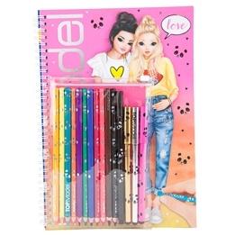 TOPModel Designbok med färgpennor - Love