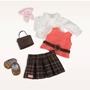 Our Generation, Dockkläder - Deluxe Cardigan, kjol & portfölj