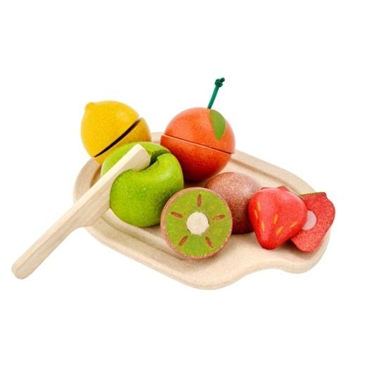PlanToys, Skärbräda, kniv & 5 frukter