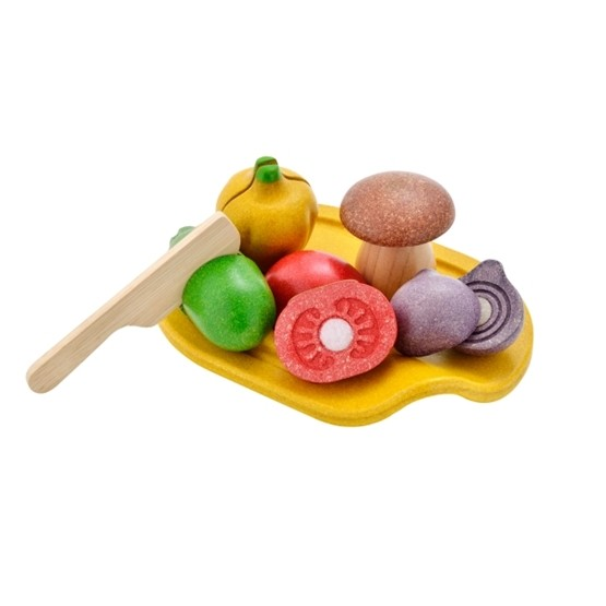 PlanToys, Skärbräda, kniv & 5 grönsaker