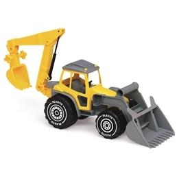 Plasto, Traktor med skopa och grävare, Gul