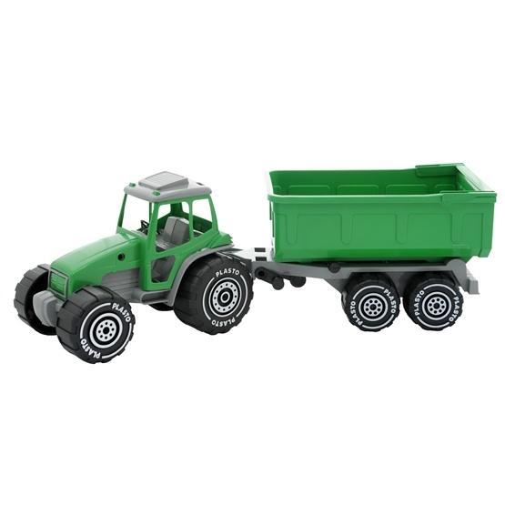 Plasto, Traktor med släp, Grön