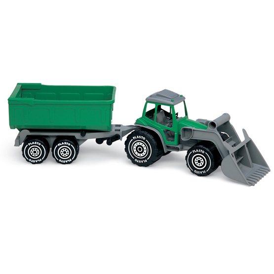Plasto, Traktor med frontlastare & släp grön