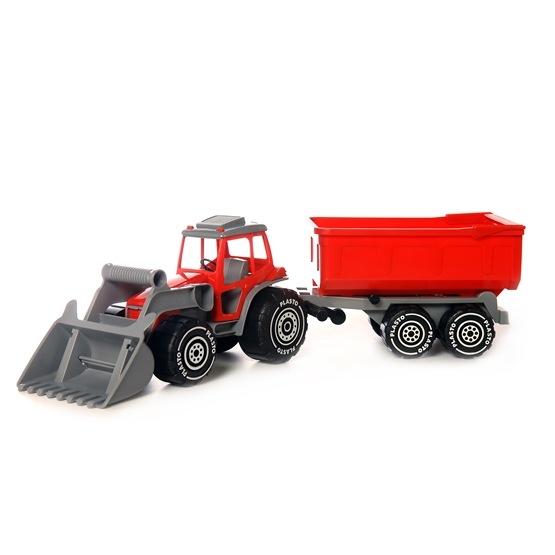 Plasto, Traktor med frontlastare och släp, Röd