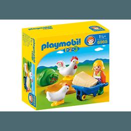 Playmobil, 1.2.3 - Bondfru med tupp och höna