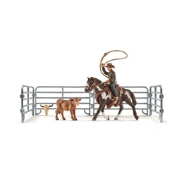 Schleich, 41418 Farm World - Team roping med cowboy