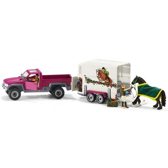 Schleich, 42346 Pick-up-bil med hästtransport