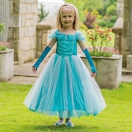 Travis Designs, Turquoise Sparkle Princess & gloves 6-8 år