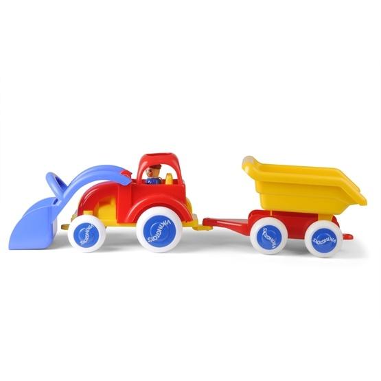 Viking Toys Traktor med släp 54 cm, röd/blå