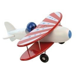 Vilac, Flygplan Dubbelvingat Vit & Röd 26 cm