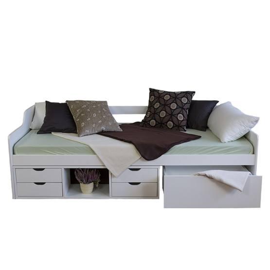 Enkelsäng - Soffa Med Lådor - Vit