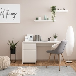 Skrivbord med förvaringsskåp - Inklusive stol - Vit