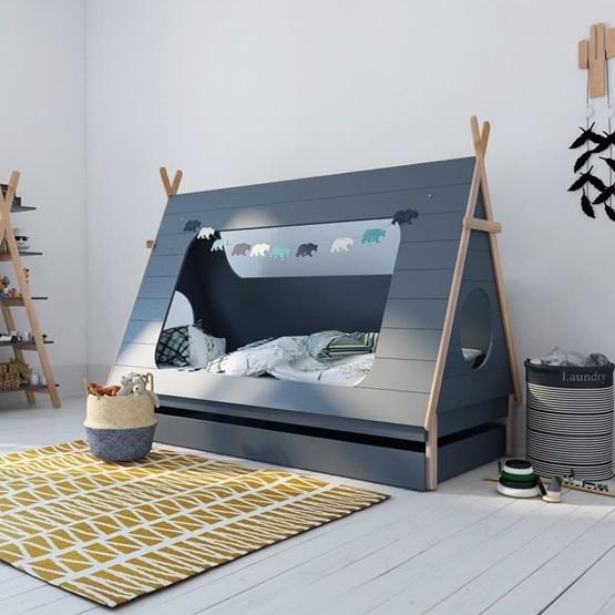 Hussäng - Tipi med väggar - Gråblå (Duvblå)