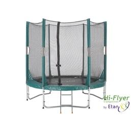 Studsmatta Hi-Flyer Grön Med Skyddsnät & Stege