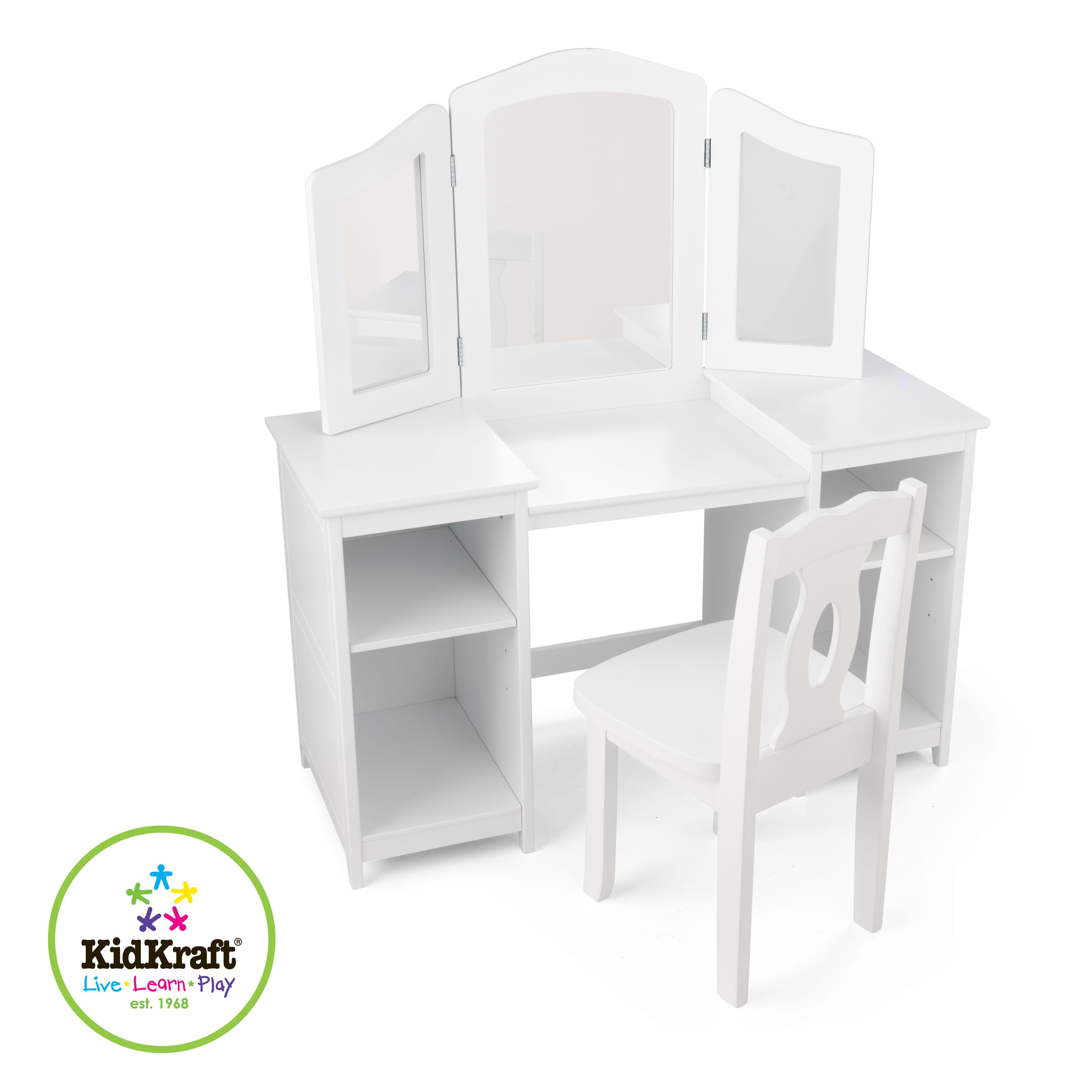 kidkraft sminkbord stol. Black Bedroom Furniture Sets. Home Design Ideas