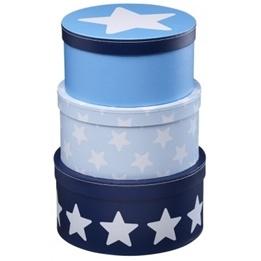 Kids Concept - Pappbox Rund Star Blå