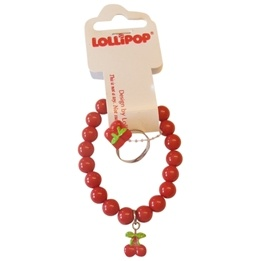 Lollipop - Armband & Ring set - Röd
