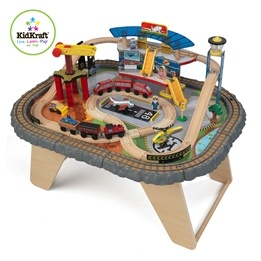 KidKraft - Tågbana - Transportation Station Train Set & Table
