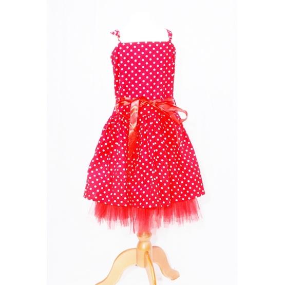 Minisa - Prickklänning Röd