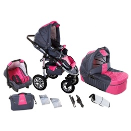 Saturn Duo Barnvagnar 3 In 1- Rosa