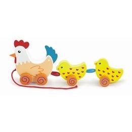 Leklyckan - Draghöna I Trä Med Kycklingar