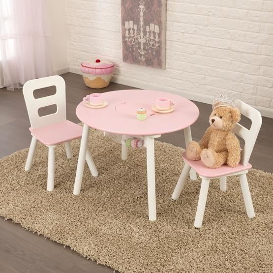Kidkraft - Bord Och Stolar - Round Storage Table and 2 Chairs Set - White & Pink