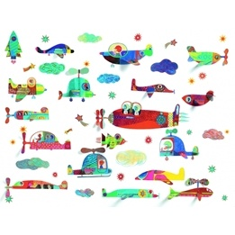 Djeco - Wall Sticker, Flying Vehicles