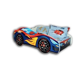 Cool Beds - Barnsäng Med Madrass - Car Red-Blue