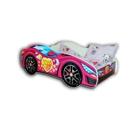 Cool Beds - Barnsäng Med Madrass - Car Pink