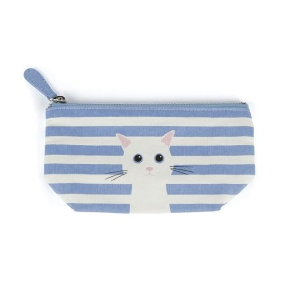 Catseye - Blue Cotton Cat Small Pouch