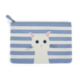 Catseye - Blue Cotton Cat Large Flat Bag
