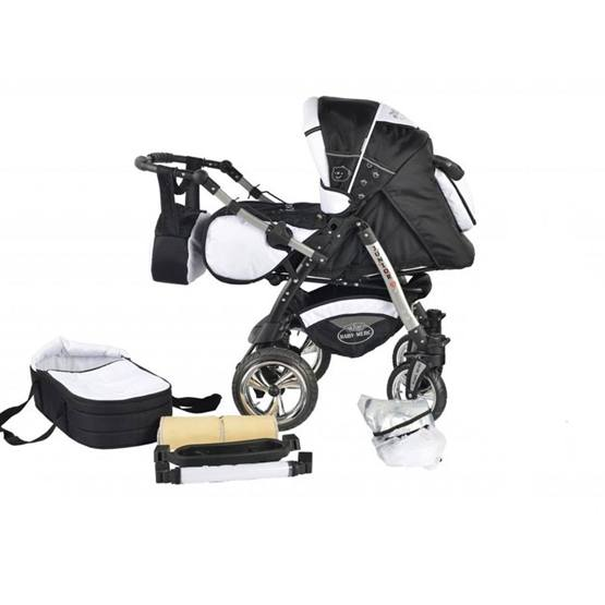Baby Merc - Barnvagn - Junior Twist - 2 In 1 - Svart Och Vit
